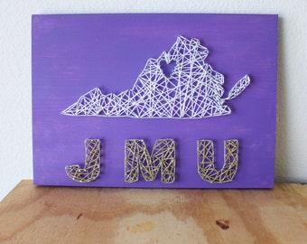 JMU, JMU Dukes, Virginia String Art, JMU String Art, State String Art, College Decor, College Dorm, College Graduation, College Apartment