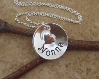 Nonna necklace - Hand stamped Name necklace - Personalized pendant - Sterling silver grandma necklace - Custom name necklace