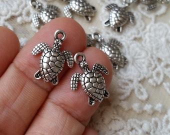 16 x 13 mm Tibetan Silver / Antiqued Bronze Hawksbill Turtle Charm Pendants  (.sm)