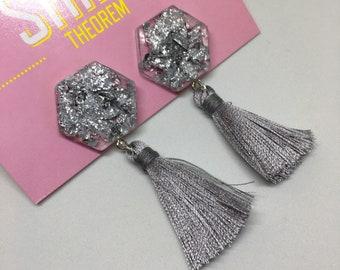 TASSELS Silver leaf hexie tassel resin earrings