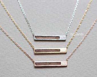 Horizontal Wood Bar necklace, Skinny bar, Geometric necklace, Layering, slatted necklace, Bridesmaid gift, Wedding necklace, Minimal, Simple