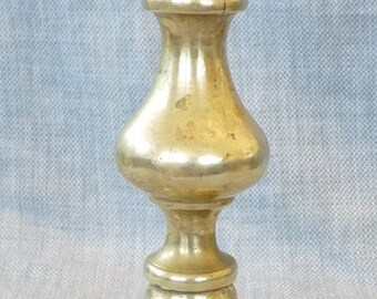 Pushup brass candlestick 19th Ct antique Queen Anne early home decor