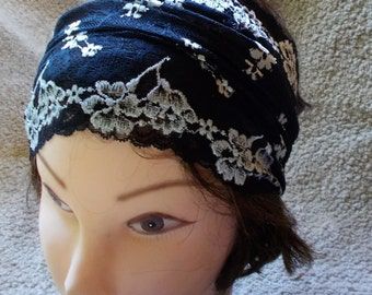 STRETCh BLACK LACE WIDe HEADBAND Womens Teens Lace Hairband