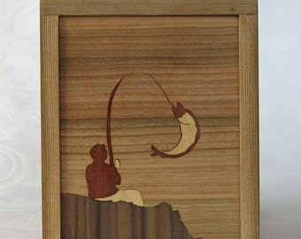 Marquetry fisherman with cedar - Fisherman frame inlaid marquetry with cedar frame