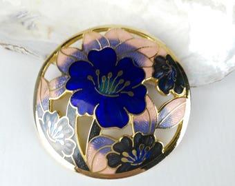 Blue Flower Brooch - Blue Enamel Brooch - Gift for Women - Pretty Blue Brooch - Mother's Day Gift - Blue Flower Brooch - Cloisonne Brooch