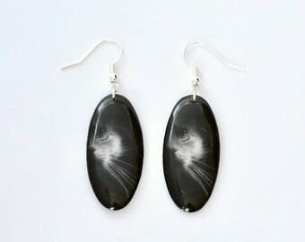 Cat Earrings - Epoxy Resin earrings – Transparent Earrings - Gift for Her – Modern Jewellery – Birthday Gift - For Cat Lovers