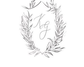 Custom Wedding Crest, Watercolor Wedding Crest, Wedding Venue Illustration
