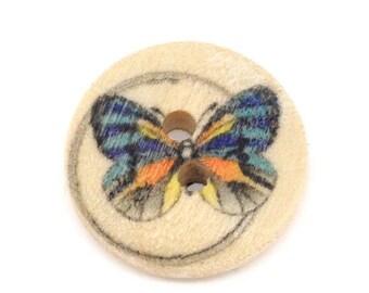 """10 boutons bois """"papillon"""" de 15mm de diamètre"""