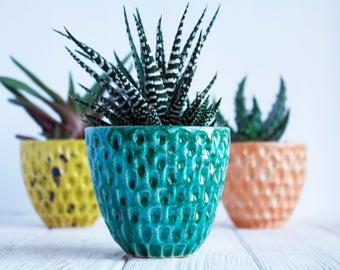 Green Succulent Planter - Modern Ceramic Planter - Air Planter - Plant Holder - Cactus Planter - Succulent Pot - Cactus Pot - Christmas gift