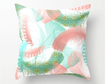 Pastel Feathers No.2 - Decorative Throw Pillow - aqua turquoise peach home decor - feather design accent cushion