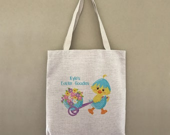 Custom Tote Bag Happy Easter Chick Customizable Personalized Gift For Her Gift For Him Shopping Bulk Hip Hop Flower Easter Basket