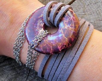 Leather Wrap Bracelet ~ Gemstone and Leather Wrap Bracelet ~ Gemstone Wrap Bracelet ~ Leather and Gemstone Bracelet ~ Leather Bracelet Wrap