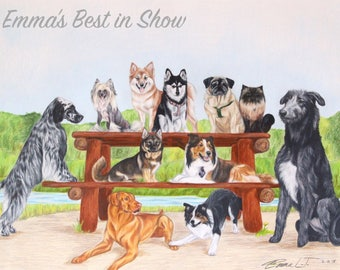 Purebred Picnic - Fine Art Giclee Print by Emma Laurel Tinklenberg of Emmasbestinshow - Dog Art Pack of Dogs Pet Portrait Pencil