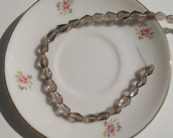 223 - Transparent gray faceted glass drop set of 10 beads