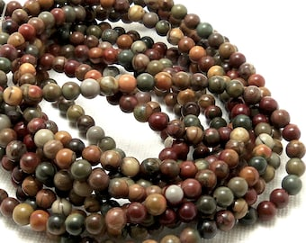 Red Creek Jasper Bead, 4mm, Round, Smooth, Red/Green/Brown, Multicolored, Gemstone Beads, 16 Inch Strand - ID 922