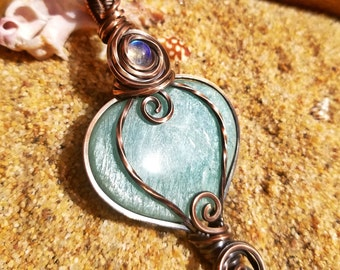 Amazonite Heart & Rainbow Moonstone Accent Wire Wrapped Crystal Pendant