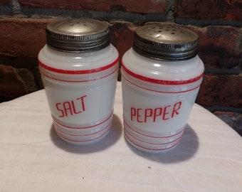 Vintage Milk Glass Salt and Pepper 1930's, Hazel Atlas 1930's Milk Glass Shakers, 1930's prop, Morethebuckles, Rare Vintage salt and pepper