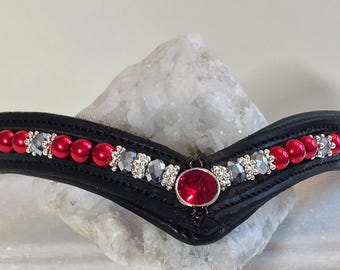 Ruby Red Leather Browband