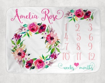 Baby Girl Milestone Blanket, Watercolor Floral Blanket, Newborn Photo Backdrop, Month Growth Chart Quilt, Personalized Baby Girl Shower Gift