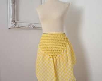 Light Yellow and White Vintage Gingham Check Apron