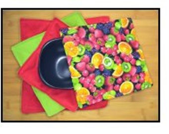 Multi-fruit hotpad cozies, set of 3 with cover