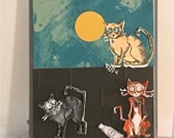 Full Moon Crazy Cats Greeting Card