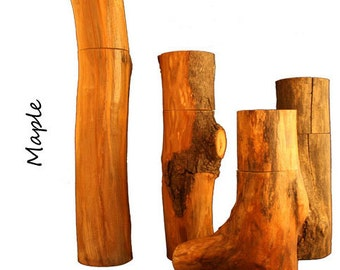 """9"""" Maple Pepper (or Salt) Mills from Tree Branches"""