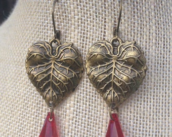 SALE Brass Leaves With Red Swarovski Teardrops FREE SHIPPING
