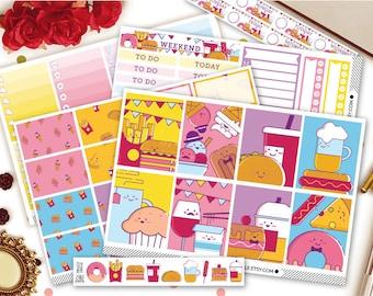 Food Junkie Erin Condren Vertical Kit Planner Stickers | Weekly Kit Stickers | Food Planner Stickers | Weekly Sticker Kit