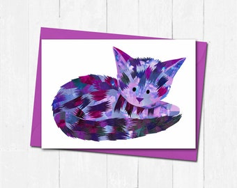 Cat greeting card, Personalised cat card, Unique cat card, Cat birthday card, Cat lover card, Cute animal greeting card, Cute cat art card