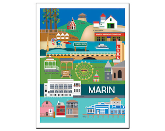 SALE Marin County, California Greeting Card 4.5 x 5.5 inches, Loose Petals City Art - style O--MAR