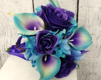 Bridal bouquet, Turquoise purple, Turquoise calla lily purple rose wedding bouquet, Calla rose wedding accessories, Silk wedding flowers