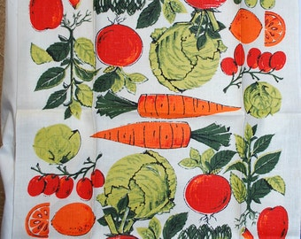 Vintage Fruits and Vegetables Kitchen Towel
