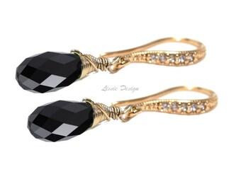 Womans Earrings,  Swarovski, Jet Black, cubic zirkonia, 3 material choices, boho, boheme, elegant, modern, rocker - Free shipping!