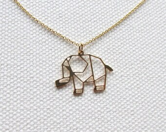 Origami Elephant Necklace 14k Gold Filled Thin Chain Necklace Animal Charm Jewelry Women's Gift