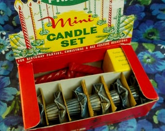Vintage Price's Mini Candle Set - 1950's - 6 daffodil bases with part used red twist candles - Used