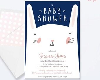Bunny Baby Shower Invitations - Bunny Baby Shower - Printable Invitation - Bunny Baby Shower Invites - Bunny Invitation - BunnyFace