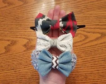 Gray Detailed Handmade Hair Bow Trio