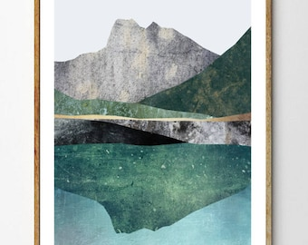 Landscape Print, Abstract Nature Art, Surreal Mountain Print, Geology Poster, Scandinavian Decor, Arctic Artwok, Collage // Higher Ground