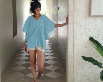 Light Blue Boho Blouse / Loose Fit Oversized Cotton Blouse - Bohemian V Neck Top Casual Wide Kimono Sleeve Retro Ethnic Shirt - Karen TOP008