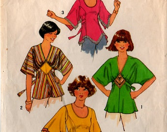 1977 Misses PULLOVER TOPS PATTERN Simplicity #7983 Size 10 Kimono Sleeves Tunic Look 4 Styles Retro Princess Seams Tie-Back Vintage Sewing