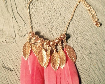 Coral feather and gold leaf necklace
