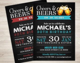 Beer Birthday Invitation. Birthday invitation for men. Cheers & Beers invitation. Surprise 30th Birthday. Chalkboard. Big 30. Thirsty Thirty