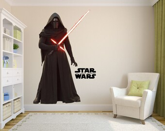 Kylo Ren Decal, Star Wars Art Decor, Star Wars Decal, First Order Decal, Fathead Mural, Star Wars Kid's Room Designs, Kylo Ren Sticker,Vinyl
