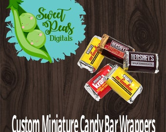 Custom Designed Miniature Candy Bar Wrappers