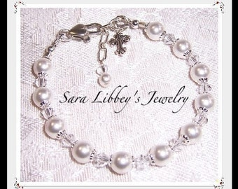First Communion or Flower Girl Bracelet and Earrings with Swarovski Pearl and Crystals