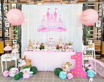 DIGITAL FILE Princess Castle Party Decoration, 60x40inch Backdrop Banner, Princess Birthday Decor, Castle