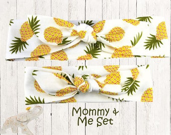 Mommy & Me Set || Top Knot Headband || Knotted Headband - Festive Delicious Pineapples over White Cotton Knit Fabric