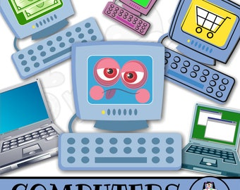 Computer Clip Art - Technology & Electronics ClipArt - Digital Graphics - Commercial Use - Computing Images - Cartoon Computer Illustrations