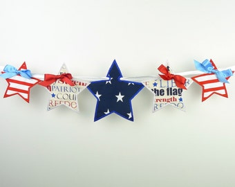 """Star Banner In The Hoop Project Machine Embroidery Design Applique Patterns done In-The-Hoop 4 sizes 4"""", 5"""", 6"""" and 7"""""""